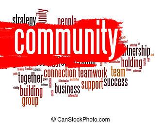nuvem, comunidade, palavra