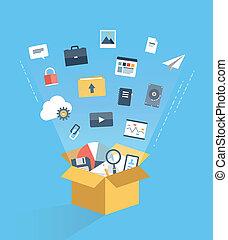 nuvem, conceito, serviço, ilustração, computando