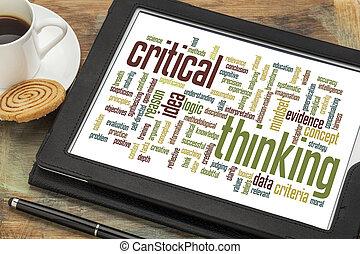nuvem, crítico, pensando, palavra