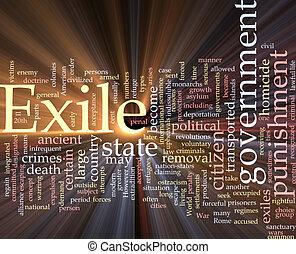 nuvem, exilo, glowing, palavra