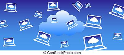 nuvem, fundo, computando