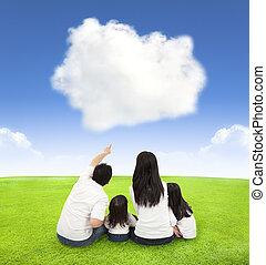 nuvem, fundo, prado, família, feliz