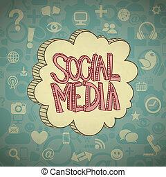 nuvem, mídia, social