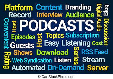 nuvem, podcasts, palavra