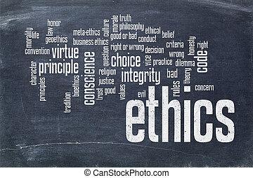 nuvem, quadro-negro, palavra, ética