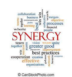 nuvem, sinergia, conceito, palavra