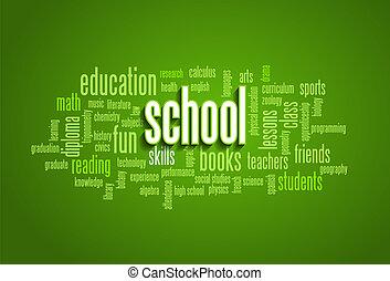 nuvem, tag, árvore, bolha, escola, palavra