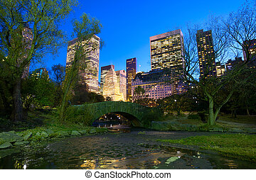 nyc, parque, central, noturna
