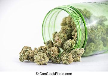 (ob, brotos, reaper, cannabis, strain), isolado, vidro, branca, jarro, verde, detalhe