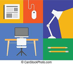 objeto, escritório, coloridos