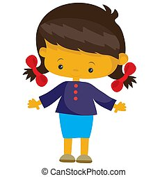 objeto, menina, ilustração, apartamento, fundo, branca, vetorial, pigtails, isolado, estilo