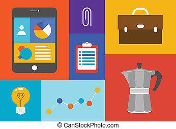 objetos, escritório, coloridos