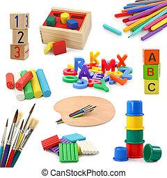 objetos, pré-escolar, cobrança