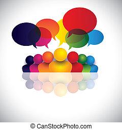 obrigação, pessoas escritório, comunicação, discussões, crianças, pessoal, &, mídia, também, empregado, reunião, crianças, interação, conferência, representa, gráfico, conversa., falando, vetorial, social, ou