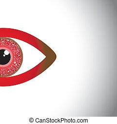 observar, eyes., -, metade, vetorial, olho, vermelho, conceito, bonito