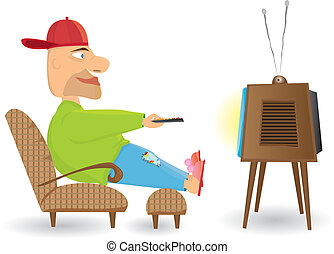 observar, homem, tv.
