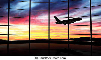 ocaso avião, janela, voando, aeroporto