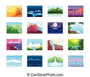 oceânicos, floresta, natureza, paisagem tropical, ícones, montanhas, rio