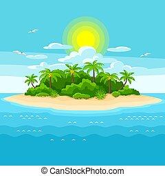 ocean., árvores., viagem, ilustração, oceânicos, tropicais, palma, fundo, ilha, paisagem
