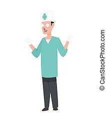 ocupação, ilustração, homens, doutor, profession., vetorial, caricatura, trabalhador, estilo, uniform., isolado, personagem