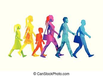 ocupado, andar, seleção, pessoas