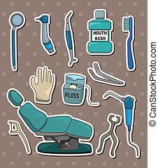 odontólogo, adesivos, ferramenta, caricatura