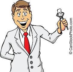 odontólogo, segurando, dente
