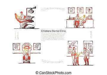 odontologia, dentes, hospitalar, stomatology, doutor, paciente, exame, criança, cadeira, bandeira, modelo