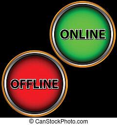 offline, online, ícone