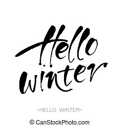 olá, inverno, lettering