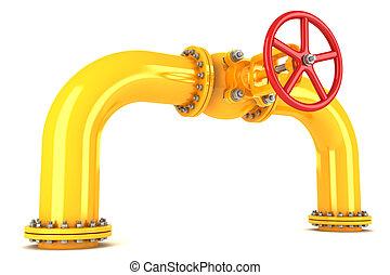 oleoduto, válvula, amarela