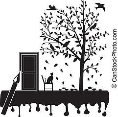 olhar fixo, árvore, pássaros, gato