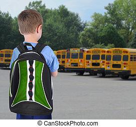 olhar, menino, escola, bookbag, autocarro