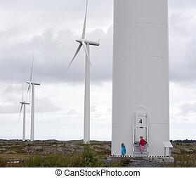 olhar, moinhos vento, crianças