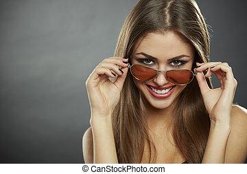 olhar, mulher, óculos de sol, sorrindo