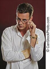 olhar, suspicius, óculos, homem