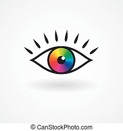 olho, ícone, coloridos, vetorial