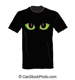 olho, aquilo, ilustração, gato, t-shirt, vetorial
