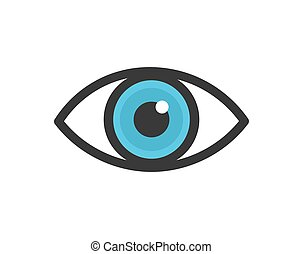 olho, icon., azul