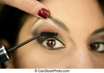 olho mulher, macro, compor, indianas, beautifull