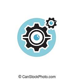 olho, serviço, logotipo, engrenagem, mecânico, ícone