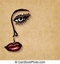 olhos azuis, mulher, antigas, rosto, lábios, fundo, vermelho