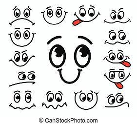 olhos, discontent., facial, emoções, caricatura, boca, alegria, tristeza, expressão, tongue.