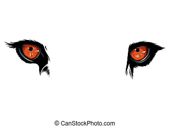 olhos, gráfico, ilustração, tiger, vetorial, fundo, branca, mascote
