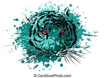 olhos, gráfico, tiger, fundo, branca, mascote