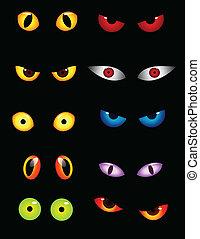 olhos, jogo, animal