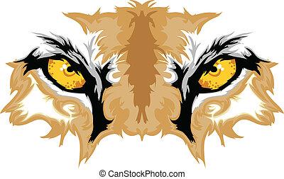 olhos, puma, mascote, gráfico