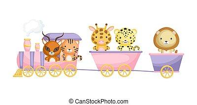onça pintada, theme., móvel, ou, passeio, gazela, tiger, gráfico, train., livro, álbum, girafa, cartão postal, cute, elemento, game., leão, childrens
