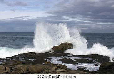 ondas, força, costa