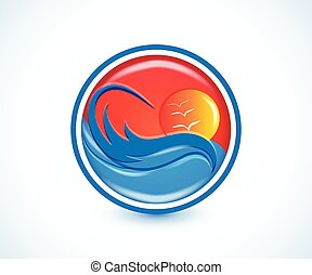 ondas, paraíso tropical, praia, verão, ensolarado, logotipo